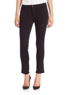 Hudson Jeans Luna Mid-Rise Studded Tuxedo-Stripe Skinny Jeans