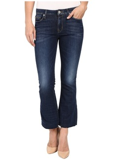 Hudson Jeans Hudson Mia Five-Pocket Mid-Rise Flare Crop with Raw Hem in Battalion