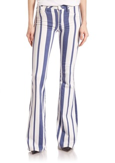 Hudson Mia Striped Mid-Rise Flare Jeans