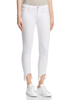 Hudson Mid Rise Skinny Crop Jeans in Destroyed