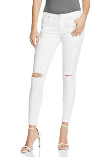 Hudson Mid Rise Super Skinny Jeans in Strife White