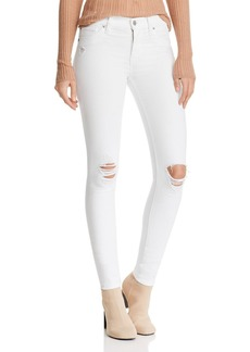 Hudson Jeans Hudson Nico Destructed Ankle Skinny Jeans in White Rapids
