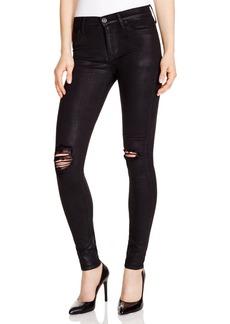 Hudson Nico Destructed Waxed Super Skinny Jeans in Black - 100% Bloomingdale's Exclusive
