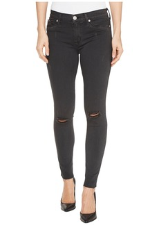 Hudson Nico Mid-Rise Ankle Raw Hem Super Skinny Five-Pocket Jeans in Blackened Charcoal