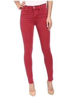 Hudson Nico Mid-Rise Ankle Raw Hem Super Skinny in Red Stone