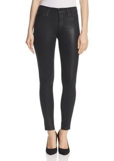 Hudson Nico Mid Rise Coated Super Skinny Jeans in Noir