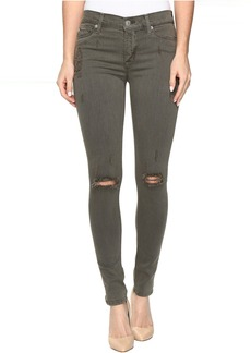 Hudson Nico Mid-Rise Super Skinny in Loden Green Destructed