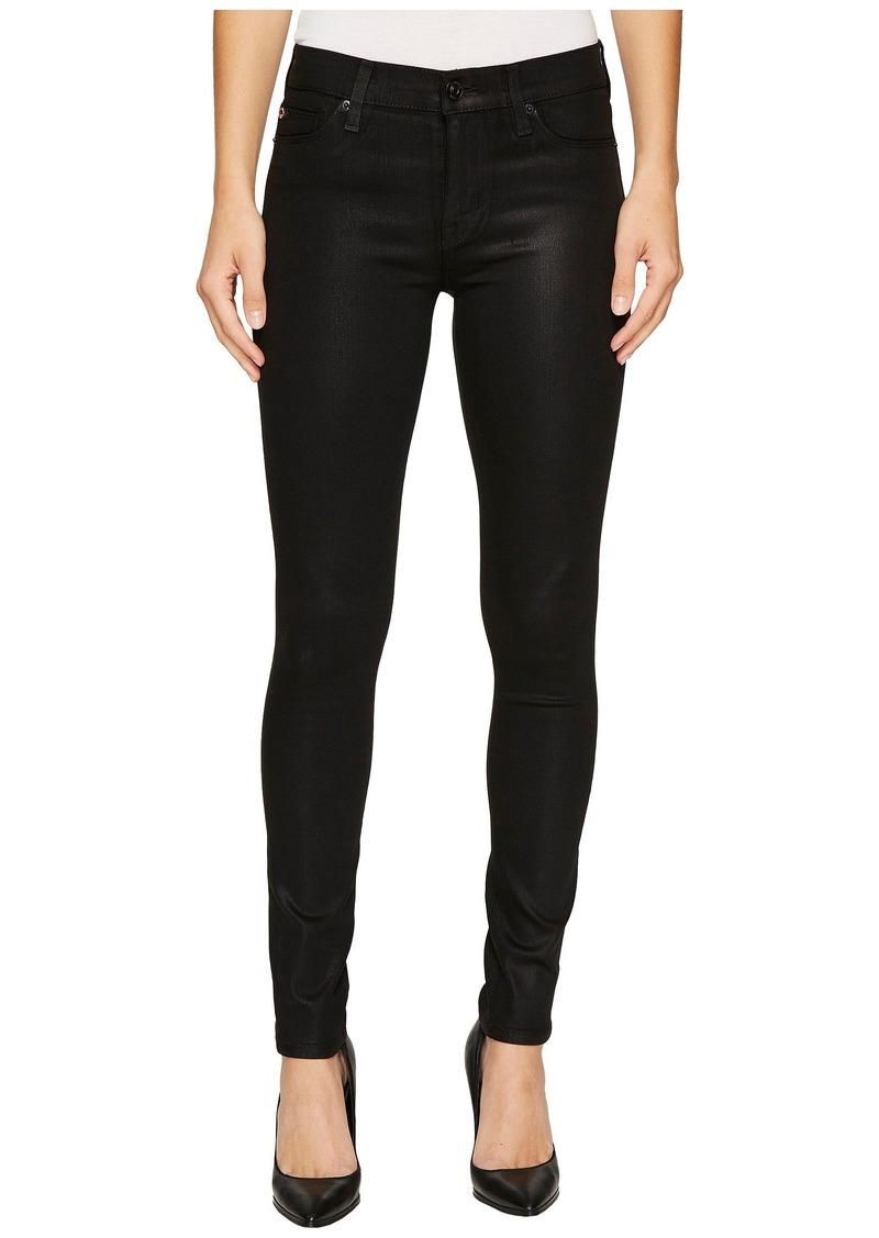 Hudson Jeans Nico Mid-Rise Super Skinny in Noir Coated