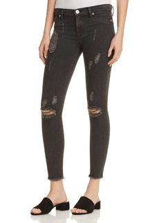 Hudson Nico Raw Hem Ankle Jeans in Blackened Charcoal