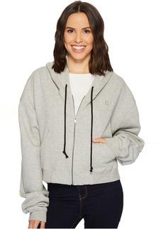 Oversized Zip Crop Hoodie in Heather Grey