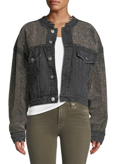 Hudson Jeans Rei Cropped Studded Denim Jacket