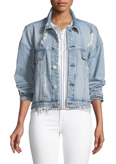 Hudson Jeans Hudson Rei Distressed Cropped Denim Jacket