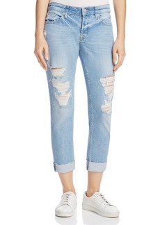 Hudson Riley Distressed Straight-Leg Jeans in Push 'n' Shove