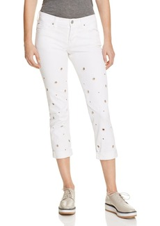Hudson Riley Grommet Studded Slim Boyfriend Jeans in White
