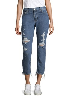 Hudson Riley Luxe Crop Distressed Jeans