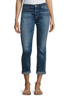 Hudson Riley Rolled Cropped Straight-Leg Jeans