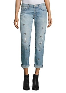 Hudson Riley Star Embellished Cropped Straight-Leg Jeans