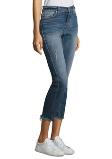 Hudson Rival Seamed High-Rise Straight-Leg Jeans With Frayed Hem