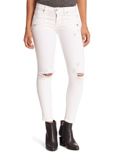 Hudson Roe Distressed Moto Super Skinny Ankle Jeans