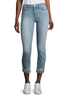 Hudson Savy Distressed Cropped Straight-Leg Jeans