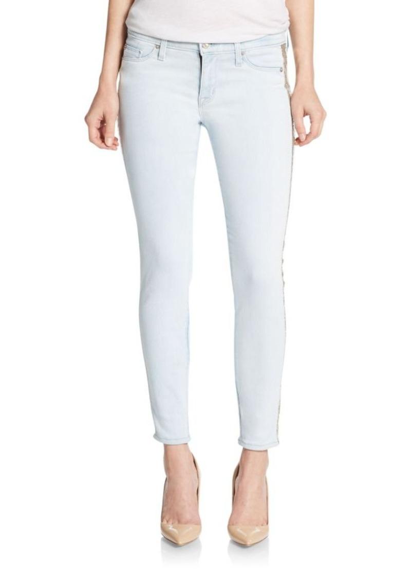 Hudson Jeans Hudson Luna Embellished Cropped Super Skinny Jeans