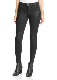 Hudson Stark Skinny Moto Jeans in Noir Coated