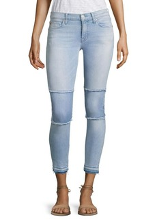 Hudson Suzzi Patched Raw-Edge Super Skinny Ankle Jeans