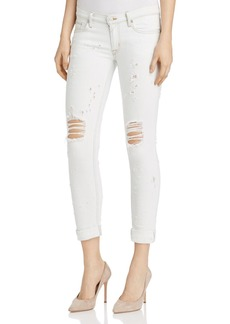 Hudson Tally Roll Crop Distressed Jeans in Troublemaker