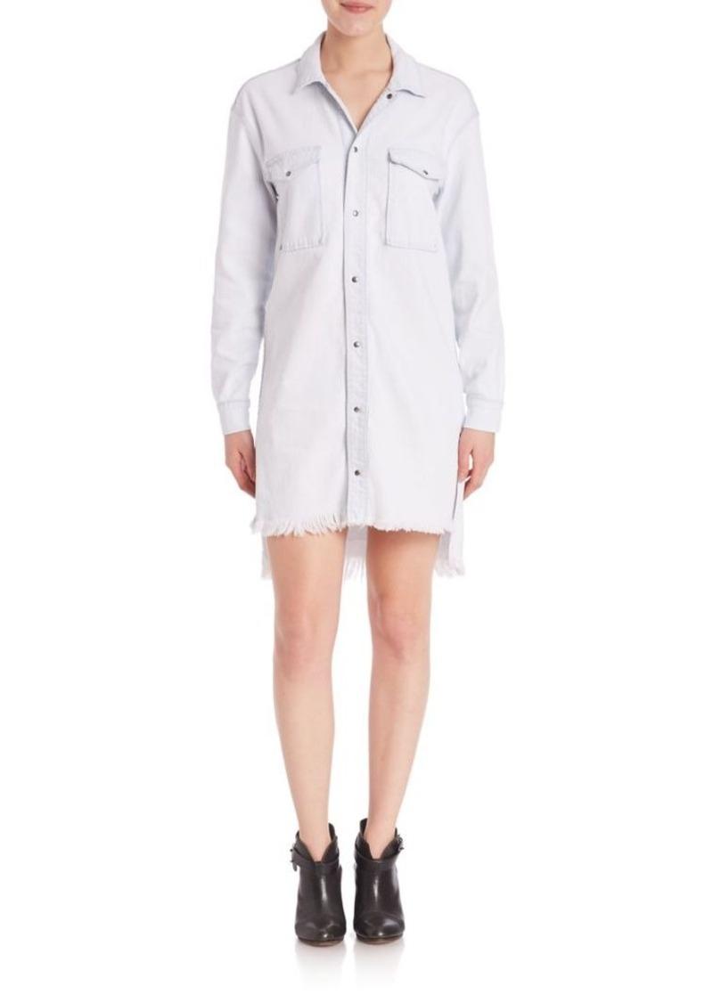 Hudson Jeans Hudson Taryn Raw-Hem Bleached Denim Shirtdress