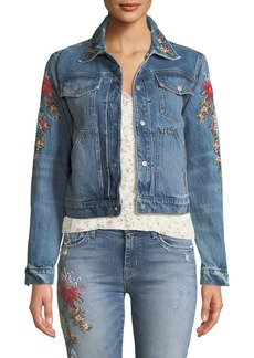 Hudson Jeans The Ren Floral-Embroidered Crop Trucker Jacket