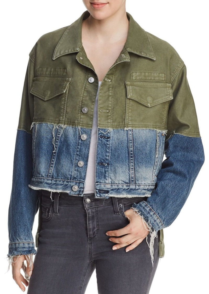 Hudson Jeans Hudson Twill & Denim High/Low Trucker Jacket