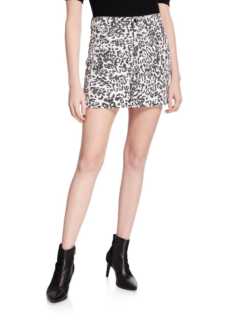 Hudson Jeans Hudson Viper Leopard-Print Mini Skirt