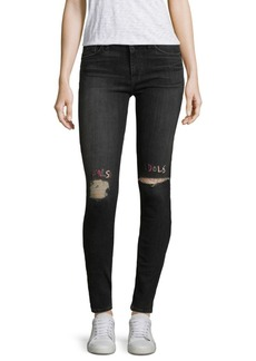 Hudson Washed Embroidered Skinny Jeans