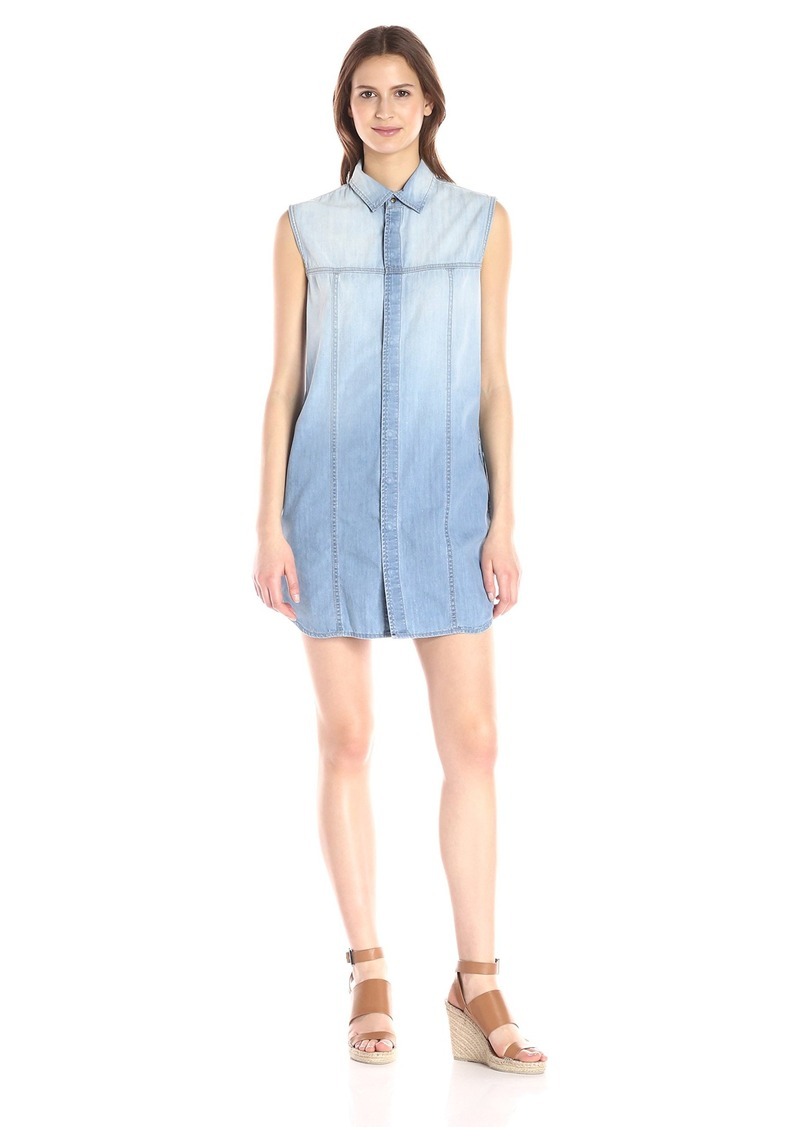 Hudson Jeans Women's Jules Sleeveless Washed Denim Shirt Dress