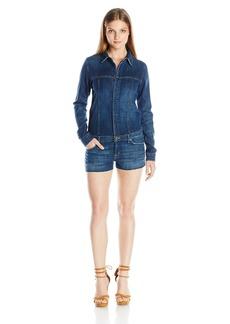 Hudson Jeans Women's Lane Denim Button Front Long Sleeve Romper