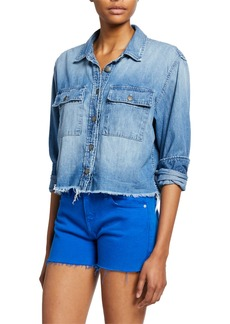 Hudson Jeans Hudson X Boyfriend Frayed Denim Top