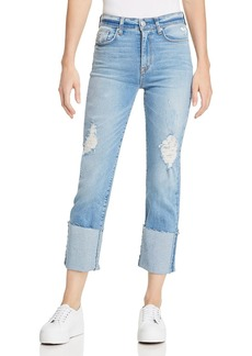 Hudson Zoeey High Rise Deep Cuff Straight Jeans in Better Half