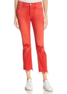 Hudson Zoeey High Rise Straight Destructed Jeans in Red Alert