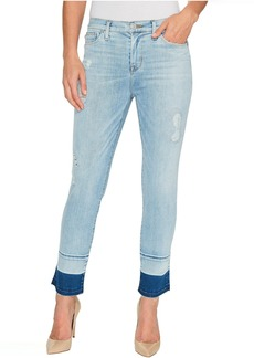 Hudson Zooey Mid-Rise Crop Straight with Released Hem Five-Pocket Jeans in Side Hussel