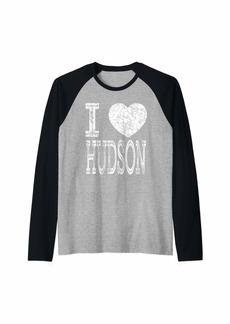 Hudson Jeans I Love Hudson Valentine Boyfriend Son Boy Heart Husband Name Raglan Baseball Tee