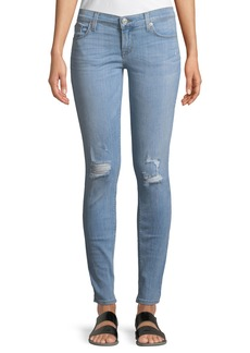 Hudson Jeans Krista Distressed Skinny Ankle Jeans  Light Wash