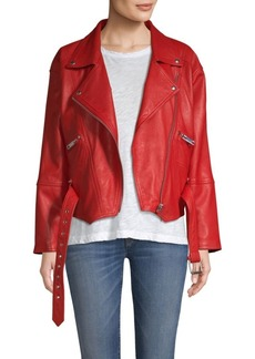 Hudson Jeans Leather Belted Moto Jacket