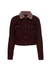 Hudson Jeans Lola Shrunken Faux Fur-Trimmed Denim Trucker Jacket