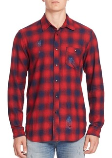 Hudson Jeans Long Sleeve Plaid Distressed Shirt