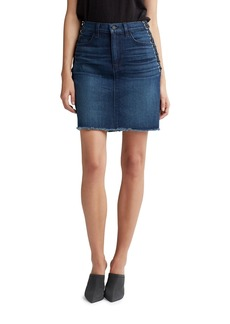 Hudson Jeans Lulu High-Rise Lace-Up Grommet Denim Skirt