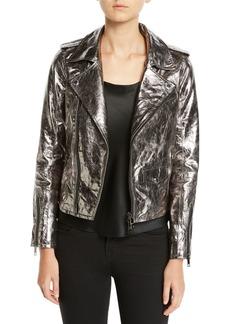 Hudson Jeans Metallic Zip-Front Leather Moto Jacket