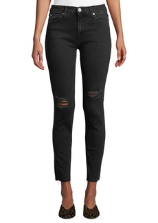 Hudson Jeans Natalie Mid-Rise Raw-Edge Ankle Jeans  Black