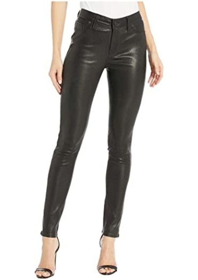 Hudson Jeans Nico Leather Mid-Rise Skinny in Black