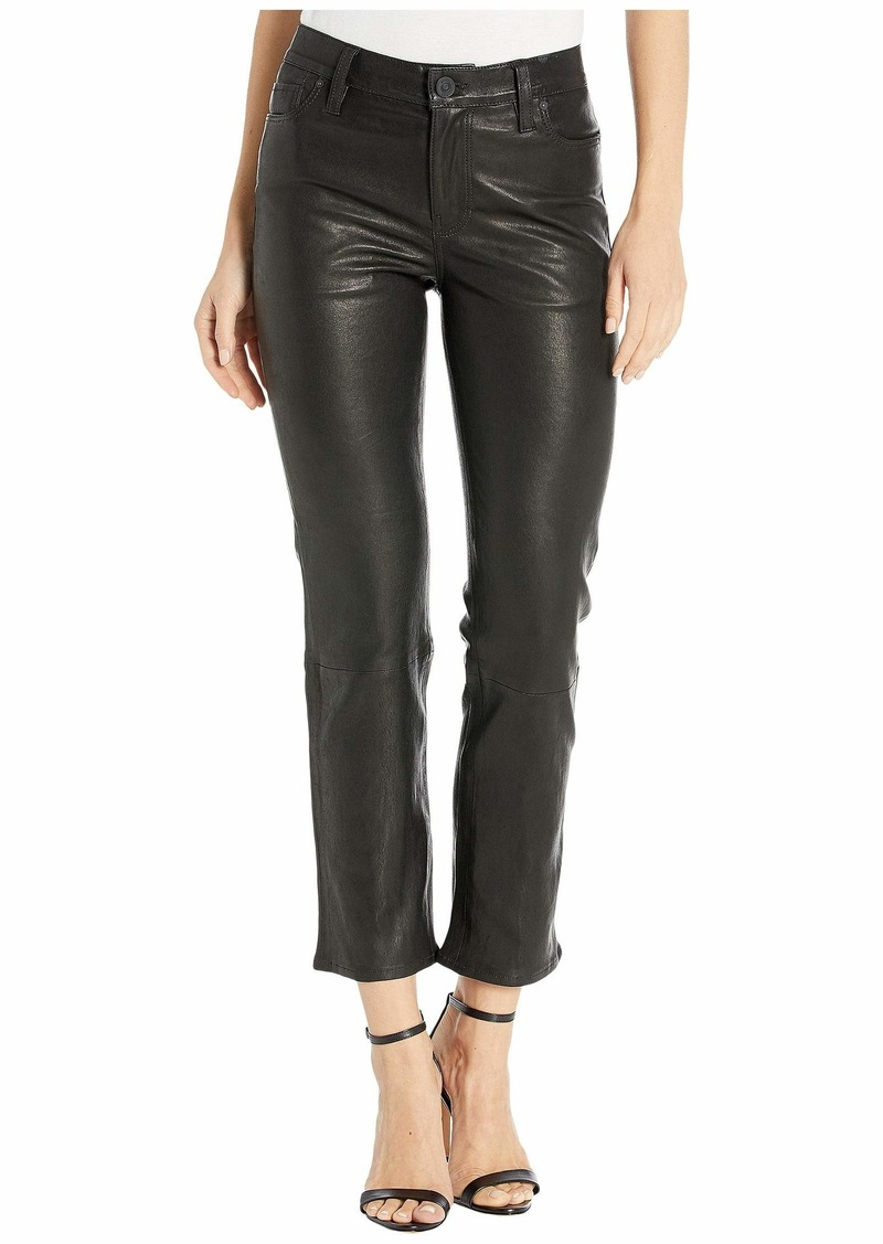 Hudson Jeans Nico Leather Mid-Rise Straight in Black