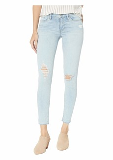 Hudson Jeans Nico Mid-Rise Ankle Raw Hem Skinny Jeans in Worn Crystal Blue